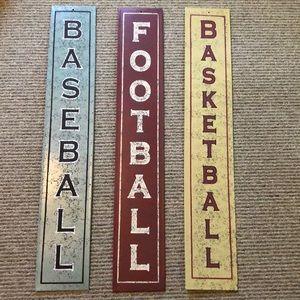 Metal sports signs.